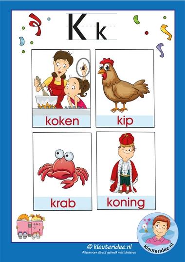 Pakket over de letter k blad 3, woordkaarten met een f, kleuteridee, free printable.