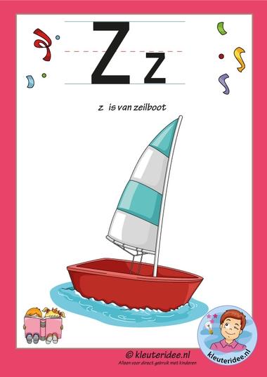 Pakket over de letter z blad 2, letterkaart met een z, kleuteridee, free printable