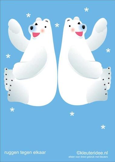 Bewegingskaarten ijsbeer voor kleuters 10 , ruggen tegen elkaar aan , kleuteridee.nl, thema Noorpool, Movementcards for preschool, free printable.