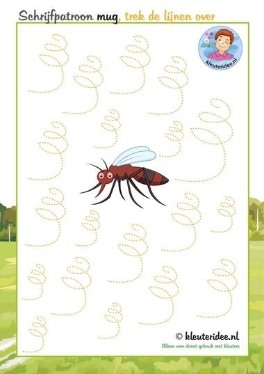 Schrijfpatroon mug, thema insecten voor kleuters, kleuteridee.nl, free printable.