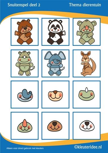 Snuitenspel voor kleuters deel 2, thema dierentuin, juf Petra van Kleuteridee, snout game for preschool, free printable.