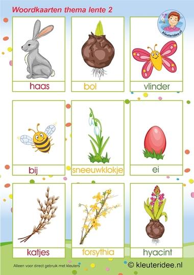 Woordkaarten , thema lente 2, kleuteridee,preschool spring words, free printable.