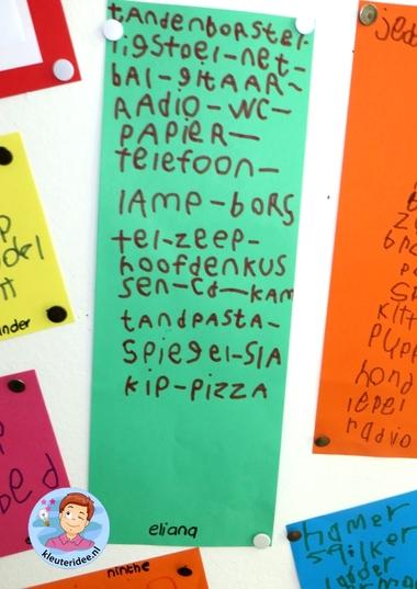 Vakantielijstje maken 2, thema camping, rollenspel en hoeken voor kleuters, kleuteridee.nl, preschool camping theme.