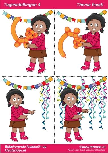 Tegenstellingen deel 4, thema feest voor kleuters, juf Petra van kleuteridee, bij behorende les op de website, preschool opposites, free printable.
