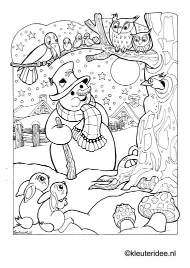 Kleurplaat sneeuwpop in de nacht, kleuteridee.nl , snowman by night preschool coloring.
