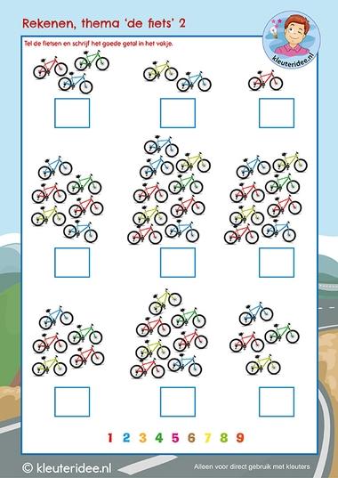 Rekenen thema 'De fiets', kleuteridee, Kindergarten math bike theme cycling 2, free download k