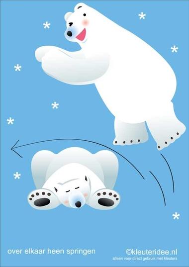 Bewegingskaarten ijsbeer voor kleuters 14 , over elkaar heen springen , kleuteridee.nl, thema Noorpool, Movementcards for preschool, free printable..