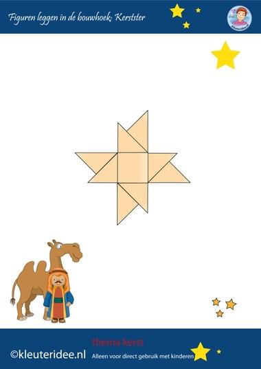 Figuren leggen in de bouwhoek, kerst op kleuteridee.nl, ster, make a star with blocks, free printable.