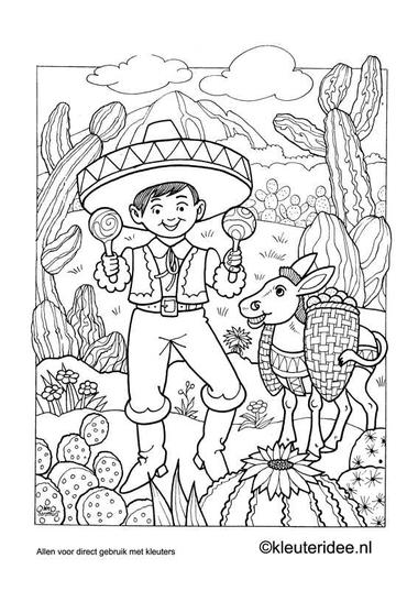 Kleurplaat Mexico, kleuteridee.nl , Mexican coloring.