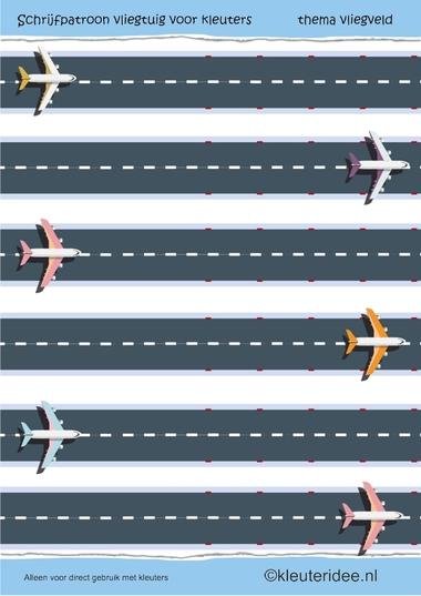 Schrijfpatroon vliegtuig voor kleuters, thema vliegveld, preschool writing pattern aeroplane, free printable.