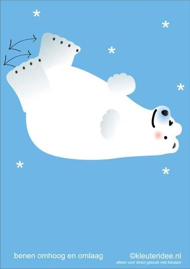 Bewegingskaarten ijsbeer voor kleuters 5, benen omhoog en omlaag , kleuteridee.nl, thema Noorpool, Movementcards for preschool, free printable.