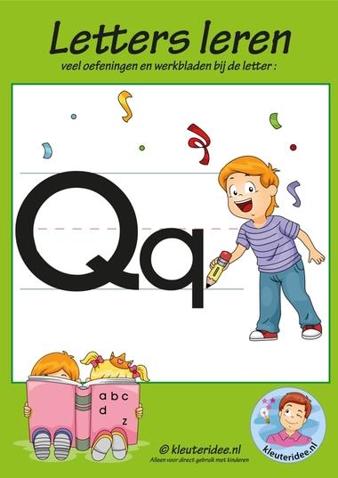 Pakket over de letter q blad 1, voorkant, letters aanbieden aan kleuters, kleuteridee.nl, free printable.