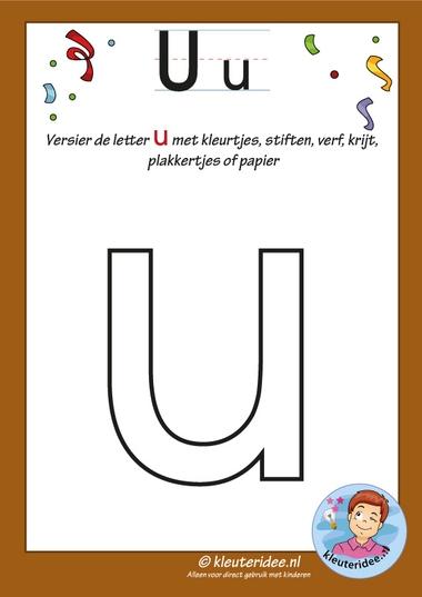 Pakket over de letter u blad 5, versier de letter u, kleuteridee, free printable