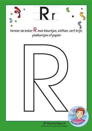 Pakket over de letter r blad 6, versier de hoofdletter R, kleuteridee, free printable