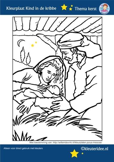 Kleurplaat Jozef en Maria en het Kind in de kribbe, thema Kerst voor kleuters, kleuteridee, free printable.