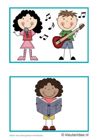 Dagritmekaarten voor kleuters 4, kleuteridee.nl , muziek en Bijbelvertelling, daily schedule cards for preschool 4, free printable.