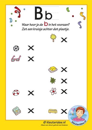 Pakket over de letter b blad 9b, in welk woord hoor je een b, waar hoor je vooraan de b, antwoorden letters aanbieden aan kleuters, kleuteridee.nl, free printable.