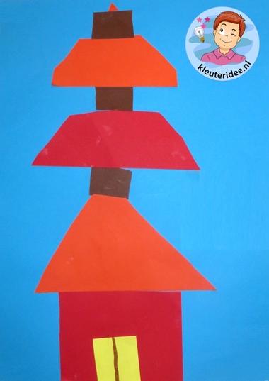 Chinese pagode knippen en plakken 4, thema China, kleuteridee.nl