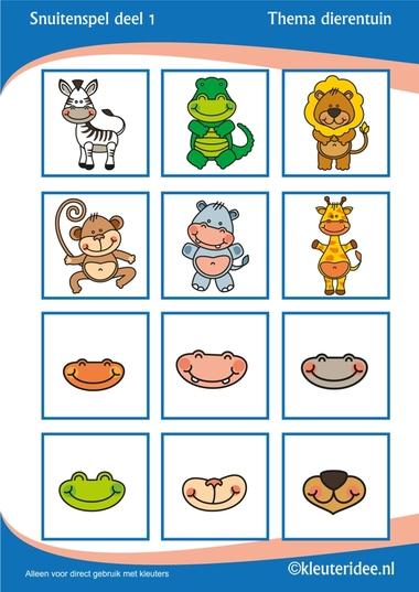 Snuitenspel voor kleuters deel 1, thema dierentuin, juf Petra van Kleuteridee, snout game for preschool, free printable.