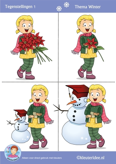 Tegenstellingen voor kleuters 1, thema winter, Preschool winter opposites, free printable.