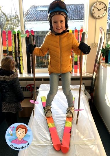 ski knutselen, thema bergen met kleuters, kindergarten ski craft, kleuteridee 3