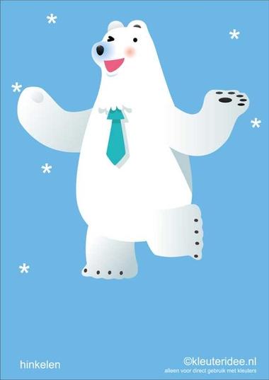 Bewegingskaarten ijsbeer voor kleuters 4, hinkelen , kleuteridee.nl, thema Noorpool, Movementcards for preschool, free printable.