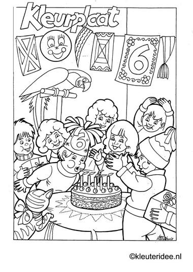 Kleurplaat verjaardag voor kleuters , kleuteridee.nl , Birthday coloring .