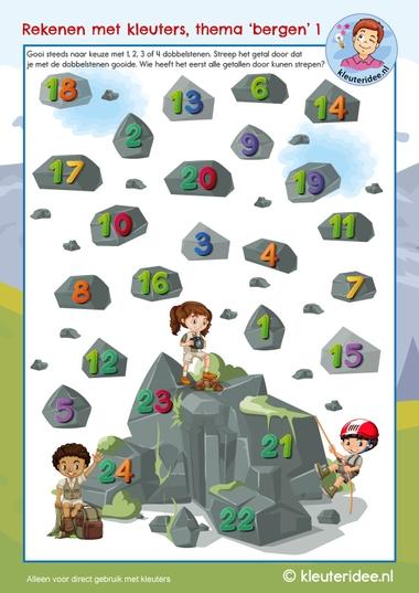 Rekenen met kleuters, thema bergen, counting rocks, mountain theme, kleuteridee 1