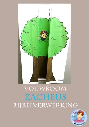 Zacheüs, vouwboom, knutselen verwerking, kleuteridee.nl, kindergarten Zaccheus craft, free printable