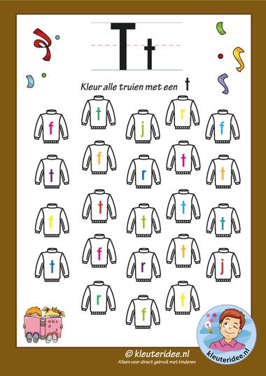 Pakket over de letter t, blad 6, kleur alle truien met een t, letters aanbieden aan kleuters, kleuteridee