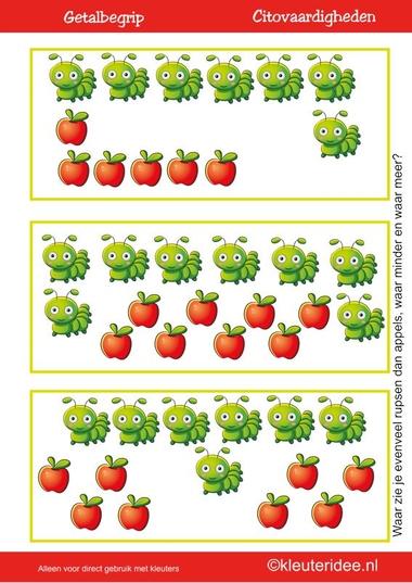 Citovaardigheden voor kleuters, kleuteridee.nl ,meten en getalbegrip, Waar zie je evenveel, waar meer en waar minder rupsen dan appels 3 , rekenen voor kleuters.