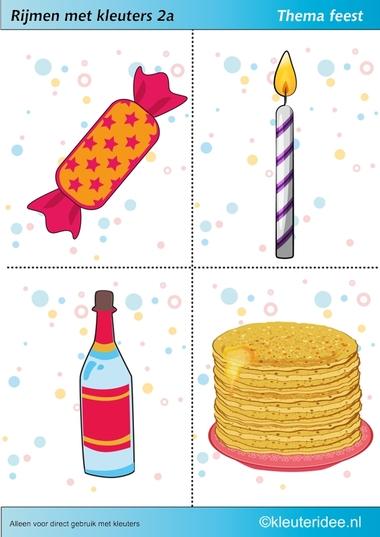Rijmen met kleuters 2a, thema feest, juf Petra van kleuteridee, free printable.