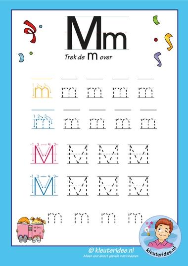 Pakket over de letter m blad 8, trek de m over, kleuteridee, free printable.