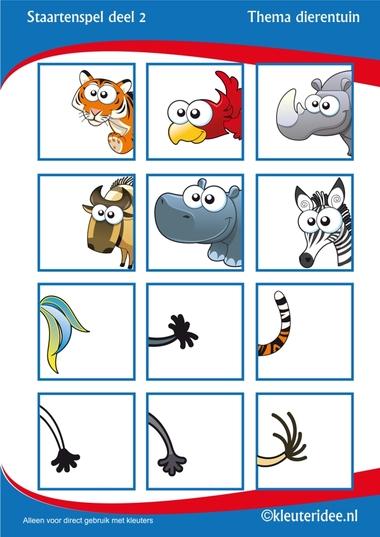 Staartenspel voor kleuters deel 2, thema dierentuin, juf Petra van Kleuteridee, tail game for preschool, free printable.