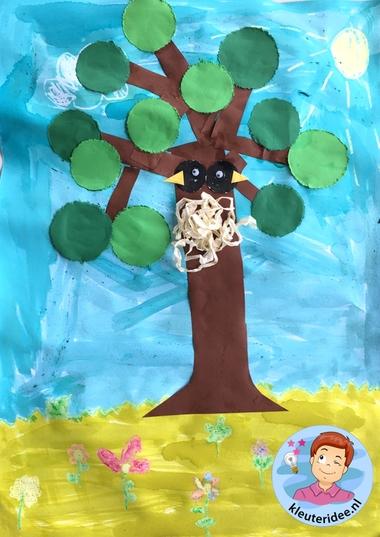 collage lente knutselen met kleuters, Spring theme craft kindergarten, kleuteridee