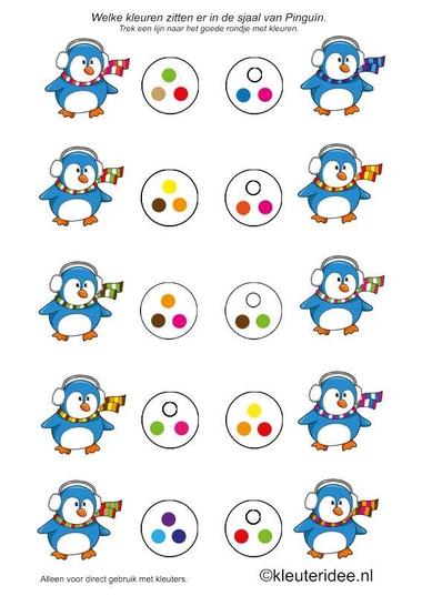 Zoek de goede kleuren bij de sjaal van de pinguin, kleuteridee, scarf color matching free printable.