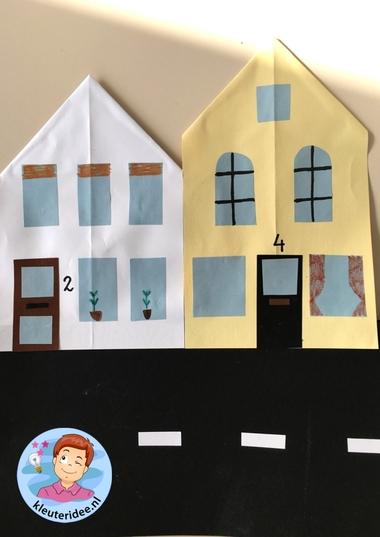 Straat vouwen en plakken, kleuteridee, thema post en pakket 4.