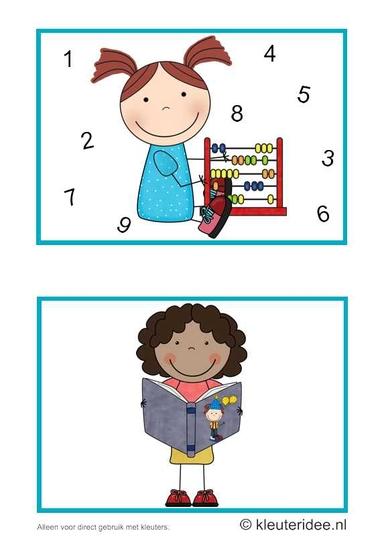 Dagritmekaarten voor kleuters 5, kleuteridee.nl , rekenen en voorlezen, daily schedule cards for preschool 5, free printable.