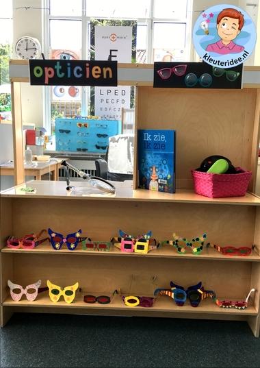 Themahoek opticien voor kleuters, kleuteridee,thema het oog, kindegarten optician role play, eye theme 5.