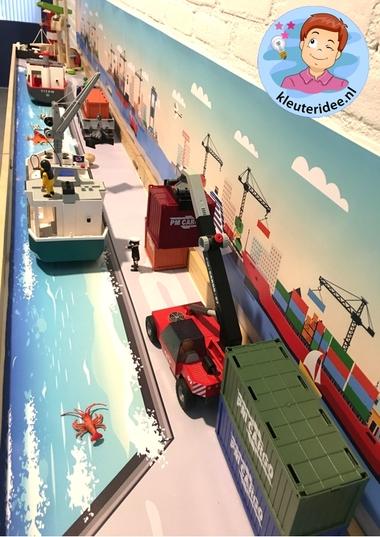 Thematafel de haven 5 , kleuteridee, kindergarten port theme with boats