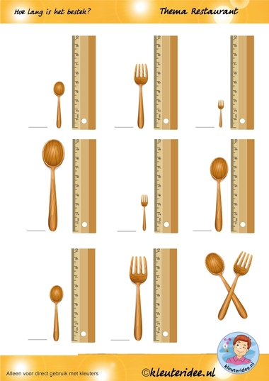 Hoe lang is het bestek, thema restaurant, juf Petra van kleuteridee.nl, how long are the fork and spoon, restaurant theme, free printable.