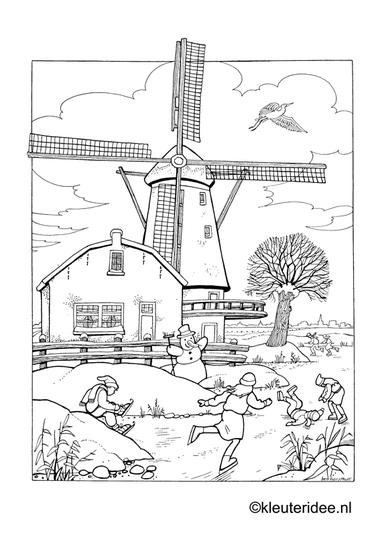 Kleurplaat schaatsen, kleuteridee.nl , skating preschool coloring.