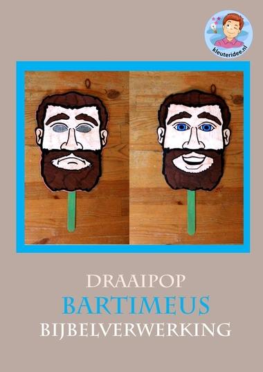 Bartimeüs draaipop, knutselen verwerking bij de bijbel, kleuteridee.nl, kindergarten blind man bible craft, free printable