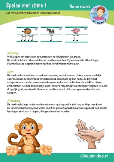 Kleuters spelen met ritme 1, thema muziek, kleuteridee.nl, free printable.