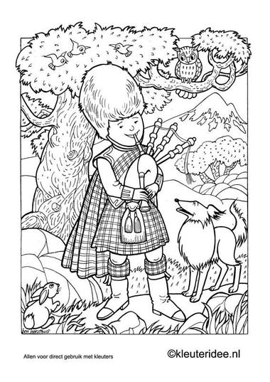 Kleurplaat Schotland, kleuteridee.nl , Scotland coloring, free printable