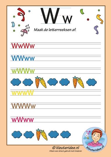 Pakket over de letter w blad 14, maak de letterreeksen af w, kleuteridee, free printable