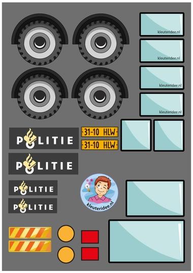 Busje van de Mobiele eenheid knutselen (ME) 2, thema politie, kleuteridee, met gratis downloads.