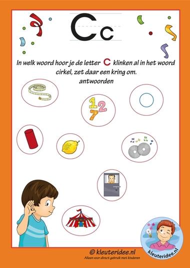 Pakket over de letter c blad 8, in welk woord hoor je een c, antwoorden, letters aanbieden aan kleuters, kleuteridee.nl, free printable.