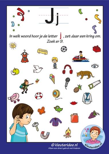 Pakket over de letter j blad 8, waar hoor je een j, letters aanbieden aan kleuters, kleuteridee, free printable.