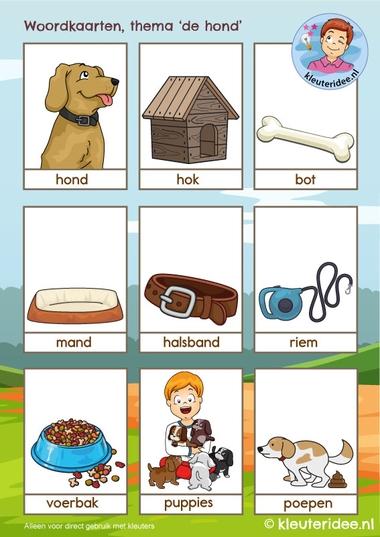Woordkaarten thema 'de hond', kleuteridee, Kindergarten dog theme, free printable 1